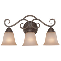 Gatewick 3 Light 21 inch Century Bronze Vanity Light Wall Light in Light Tea-Stained Glass