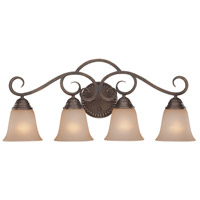 Gatewick 4 Light 29 inch Century Bronze Vanity Light Wall Light in Light Tea-Stained Glass
