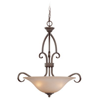 Gatewick 3 Light 23 inch Century Bronze Inverted Pendant Ceiling Light in Light Tea-Stained Glass