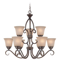 Craftmade 26029-CB Gatewick 9 Light 30 inch Century Bronze Chandelier Ceiling Light in Light Tea-Stained Glass