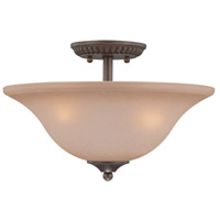Craftmade 26033-CB Gatewick 3 Light 16 inch Century Bronze Semi-Flushmount Ceiling Light in Light Tea-Stained Glass