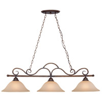 Craftmade 26043-CB Gatewick 3 Light 46 inch Century Bronze Island Light Ceiling Light in Light Tea-Stained Glass