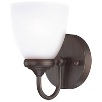 Spencer 1 Light 5 inch Bronze Wall Sconce Wall Light in White Frosted Glass