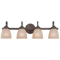 Craftmade 26104-BZ Spencer 4 Light 28 inch Bronze Vanity Light Wall Light in Tea-Stained Glass