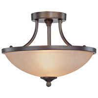 Spencer 2 Light 14 inch Bronze Semi Flush Mount Ceiling Light in Tea-Stained Glass