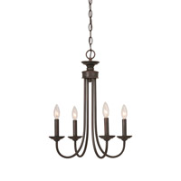 Craftmade 26124-BZ Spencer 4 Light 16 inch Bronze Chandelier Ceiling Light in Tea-Stained Glass, Shades Sold Separately