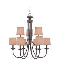 Spencer 9 Light 27 inch Bronze Chandelier Ceiling Light in Tea-Stained Glass, Shades Sold Separately