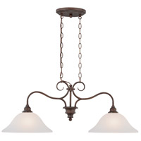 Linden Lane 2 Light 35 inch Old Bronze Island Ceiling Light in White Frosted Glass