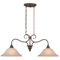 Linden Lane 2 Light 35 inch Old Bronze Island Light Ceiling Light in Light Tea-Stained Glass