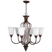 Linden Lane 6 Light 28 inch Old Bronze Chandelier Ceiling Light in White Frosted Glass
