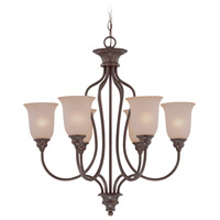 Linden Lane 6 Light 28 inch Old Bronze Chandelier Ceiling Light in Light Tea-Stained Glass