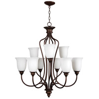 Linden Lane 9 Light 31 inch Old Bronze Chandelier Ceiling Light in White Frosted Glass