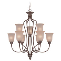 Linden Lane 9 Light 31 inch Old Bronze Chandelier Ceiling Light in Light Tea-Stained Glass