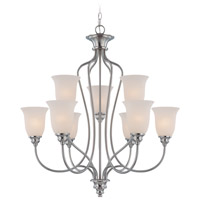 Linden Lane 9 Light 31 inch Satin Nickel Chandelier Ceiling Light in Frosted