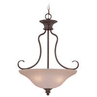 Linden Lane 3 Light 21 inch Old Bronze Inverted Pendant Ceiling Light in Light Tea-Stained Glass