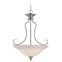 Linden Lane 3 Light 21 inch Satin Nickel Inverted Pendant Ceiling Light in Frosted