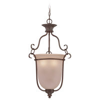 Linden Lane 3 Light 18 inch Old Bronze Foyer Light Ceiling Light in Light Tea-Stained Glass