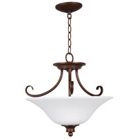 Linden Lane 3 Light 18 inch Old Bronze Semi Flush Ceiling Light in White Frosted Glass