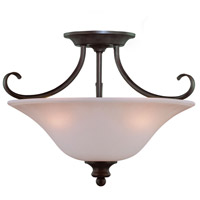 Craftmade 26353-OB Linden Lane 3 Light 18 inch Old Bronze Semi Flush Mount Ceiling Light in Light Tea-Stained Glass Convertible to Pendant