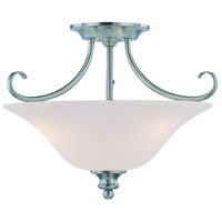 Craftmade 26353-SN Linden Lane 3 Light 18 inch Satin Nickel Semi-Flushmount Ceiling Light in Frosted, Convertible to Pendant
