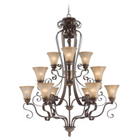Kingsley 12 Light 41 inch Century Bronze Chandelier Ceiling Light in Distressed Mocha Etched Glass