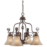 Kingsley 4 Light 25 inch Century Bronze Chandelier Ceiling Light in Distressed Mocha Etched Glass