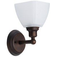 Bradley 1 Light 5 inch Bronze Wall Sconce Wall Light in White Frosted Glass, Jeremiah