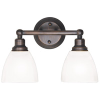 Craftmade 26602-BZ-WG Bradley 2 Light 15 inch Bronze Vanity Light Wall Light in White Frosted Glass, Jeremiah