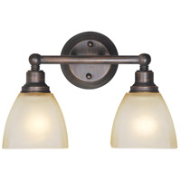Craftmade 26602-BZ Bradley 2 Light 15 inch Bronze Vanity Light Wall Light in Light Tea-Stained Glass