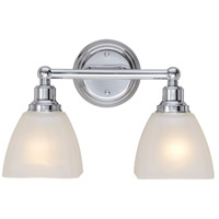 Craftmade 26602-CH Bradley 2 Light 15 inch Chrome Vanity Light Wall Light in White Frosted Glass
