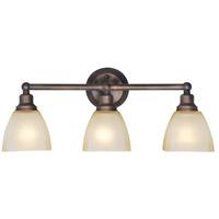 Craftmade 26603-BZ Bradley 3 Light 24 inch Bronze Vanity Light Wall Light in Light Tea-Stained Glass