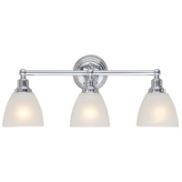 Bradley 3 Light 24 inch Chrome Vanity Light Wall Light in White Frosted Glass