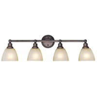 Craftmade 26604-BZ Bradley 4 Light 33 inch Bronze Vanity Light Wall Light in Light Tea-Stained Glass