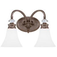 Boulevard 2 Light 17 inch Mocha Bronze and Silver Accents Vanity Light Wall Light in White Frosted Glass, Jeremiah