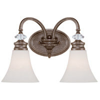 Craftmade 26702-MBS Boulevard 2 Light 17 inch Mocha Bronze and Silver Accents Vanity Light Wall Light in Creamy Etched Glass