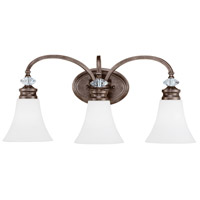 Craftmade 26703-MBS-WG Boulevard 3 Light 25 inch Mocha Bronze and Silver Accents Vanity Light Wall Light in White Frosted Glass, Jeremiah