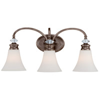 Craftmade 26703-MBS Boulevard 3 Light 25 inch Mocha Bronze and Silver Accents Vanity Light Wall Light in Creamy Etched Glass
