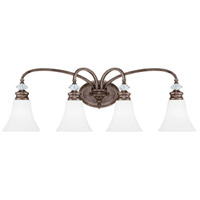 Craftmade 26704-MBS-WG Boulevard 4 Light 33 inch Mocha Bronze and Silver Accents Vanity Light Wall Light in White Frosted Glass, Jeremiah