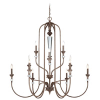 Boulevard 12 Light 44 inch Mocha Bronze and Silver Accents Chandelier Ceiling Light