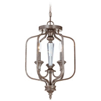 Craftmade 26723-MBS Boulevard 3 Light 13 inch Mocha Bronze and Silver Accents Semi-Flushmount Ceiling Light in Creamy Etched Glass, Convertible