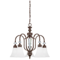 Boulevard 5 Light 25 inch Mocha Bronze Chandelier Ceiling Light in White Frosted Glass, Jeremiah