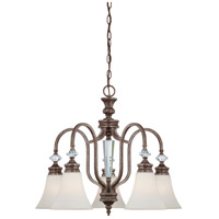 Boulevard 5 Light 25 inch Mocha Bronze and Silver Accents Down Chandelier Ceiling Light in Creamy Etched Glass