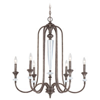 Boulevard 6 Light 29 inch Mocha Bronze and Silver Accents Chandelier Ceiling Light