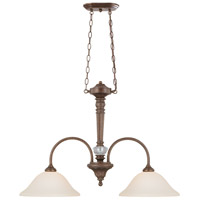 Cambridge 2 Light 35 inch Tortoise Crackle Island Pendant Ceiling Light in Creamy Etched Glass
