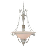 Zoe 3 Light 25 inch Antique Linen Inverted Pendant Ceiling Light in Frosted