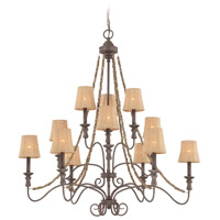 Jeremiah by Craftmade Quincy 12 Light Chandelier in Seville Iron 27512-SI