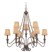 Jeremiah by Craftmade Quincy 9 Light Chandelier in Seville Iron 27529-SI