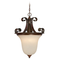 Seville 4 Light 17 inch Spanish Bronze Inverted Pendant Ceiling Light in Creamy Frosted Glass