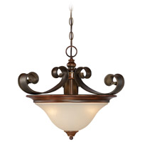 Seville 3 Light 18 inch Spanish Bronze Semi-Flushmount Ceiling Light in Creamy Frosted Glass, Convertible to Pendant