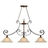 Seville 3 Light 49 inch Spanish Bronze Island Light Ceiling Light in Creamy Frosted Glass